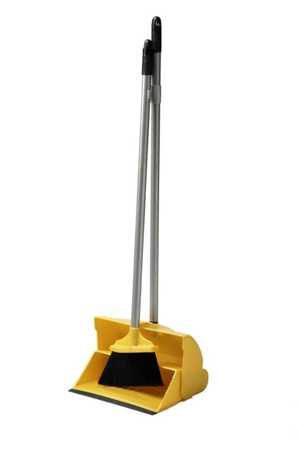Dust Pan & Brush Set - Long Handled - Yellow-0