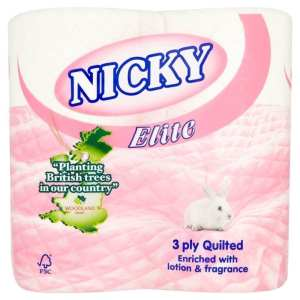 Nicky Elite Toilet Rolls - 3ply Pink - 40 Pack