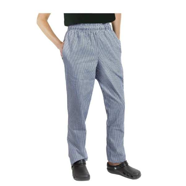 Chef Works Unisex Easyfit Pants Small Blue Check Polycotton - Size XS-0
