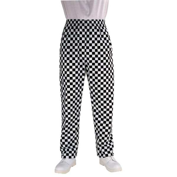 Chef Works Unisex Easyfit Pants Big Black Check Polycotton - Size M-0