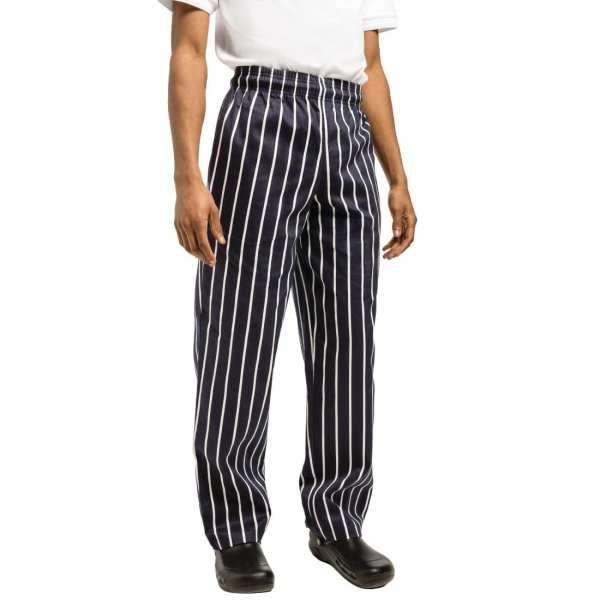 Chef Works Unisex Easyfit Pants Butchers Stripe Cotton - Size S-0