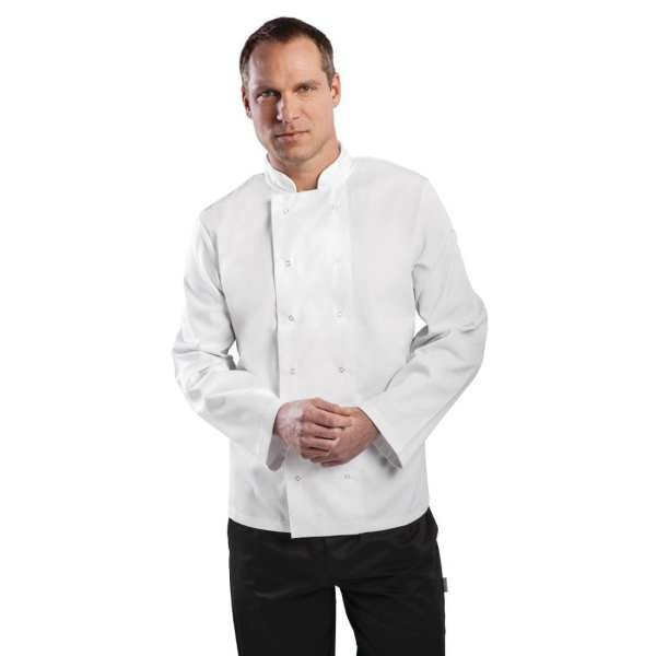 Vegas Chefs Jacket Long Sleeve White Polycotton - Size XS-0
