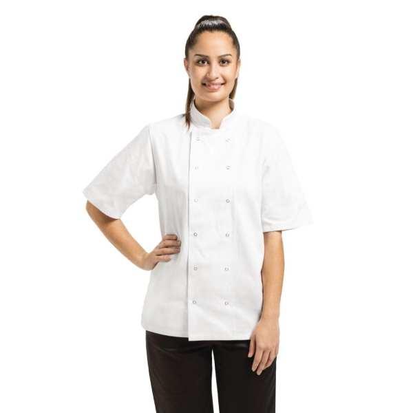 Vegas Chefs Jacket Short Sleeve White Polycotton - Size XS-0