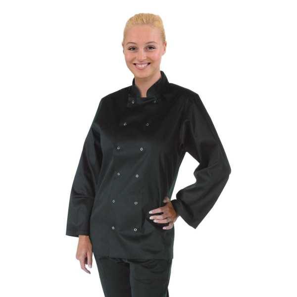 Vegas Chefs Jacket Long Sleeve Black Polycotton - Size S-0