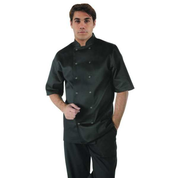 Vegas Chefs Jacket Short Sleeve Black Polycotton - Size L-0