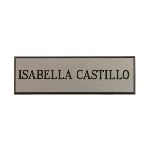 Name Badge Silver with Black Text-0