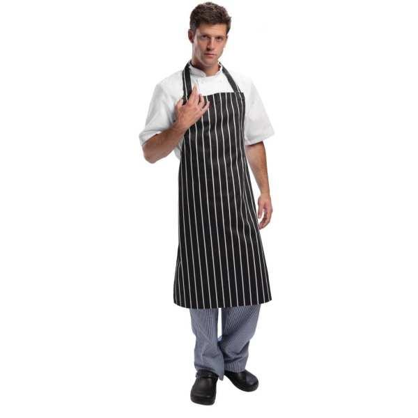 Black & White Stripe Butchers Bib Apron-0