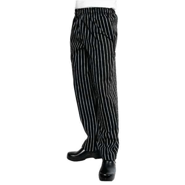 Chef Works Black & White Stripe Butcher Easi Fit Baggies - Size XL-0