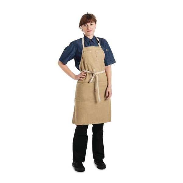 Chef Works Austin Denim Bib Apron Natural-0