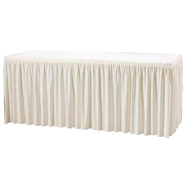 Cream Plisse Table Combi Skirting - 1820x750x730mm