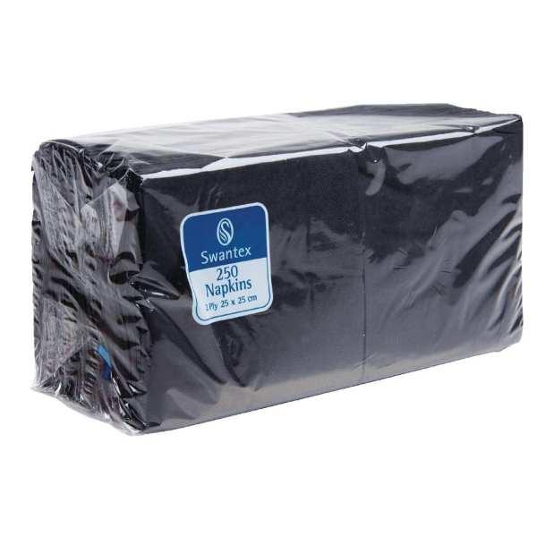 Black Cocktail Napkin 2Ply 1/4Fold - 250x250mm (Pack 2000)-0