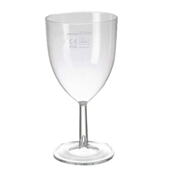 Clarity Polystyrene Wine Glass CE Lined @175ml (Box 48)-0