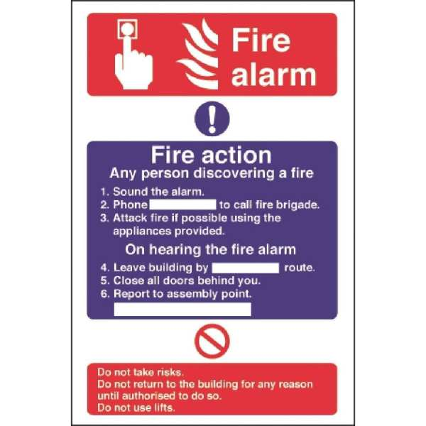 Fire Alarm/Fire Action - 300x200mm (Rigid)-0