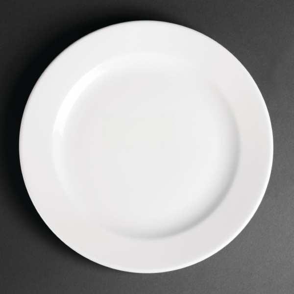 "Royal Porcelain Classic Wide Rim Plate White - 240mm 9 1/2"" (Box 12)-0"