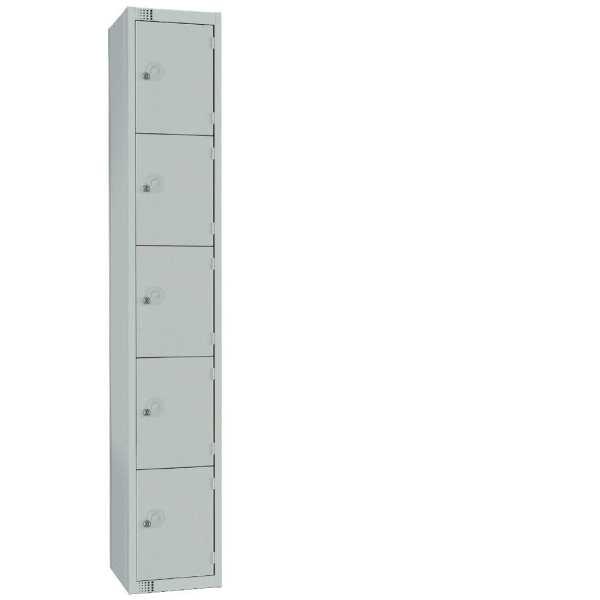300mm Deep Locker 5 Door Camlock Mid Grey with Sloping Top (Direct)-0