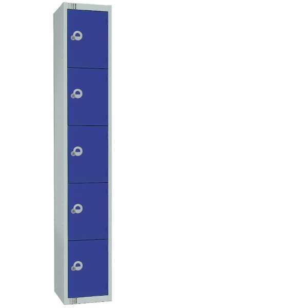 300mm Deep Locker 5 Door Camlock Blue with Sloping Top (Direct)-0