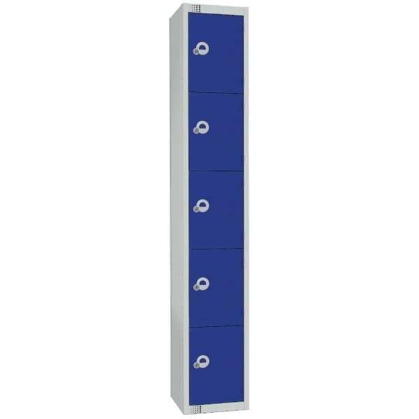 450mm Deep Locker 5 Door Padlock Blue (Direct)-0
