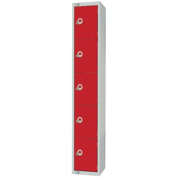 450mm Deep Locker 5 Door Padlock Red (Direct)-0