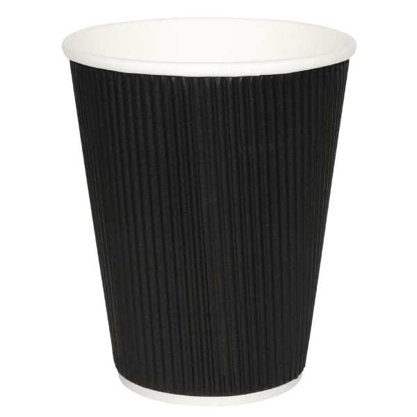 Fiesta Hot Cups Ripple Wall Black - 228ml (8oz) (Box 500)-0