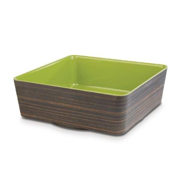 APS+ Square Bowl Oak/Green 4Ltr 265x265mm (B2B)-0