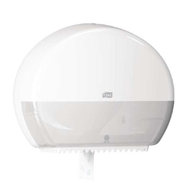 Tork White Mini Jumbo Toilet Roll Dispenser