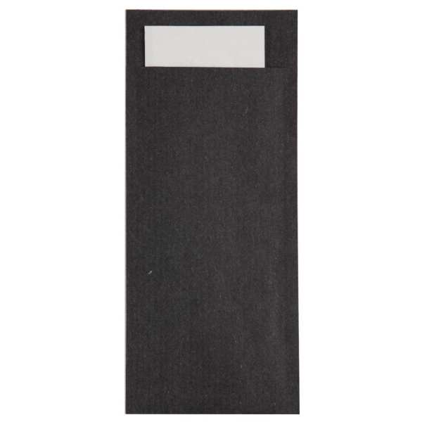 Black Cutlery Pouch with White Napkin (Box 600)