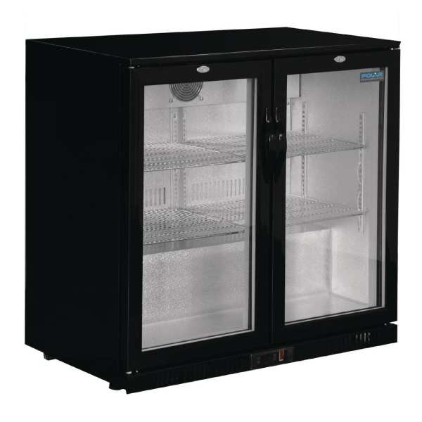 Polar Double Hinged Door Back Bar Cooler 850mm - Black with LED Lighting-0
