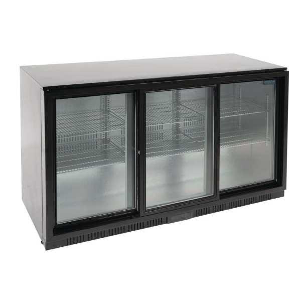 Polar Triple Sliding Door Back Bar Cooler 850mm - Black with LED Lighting-0