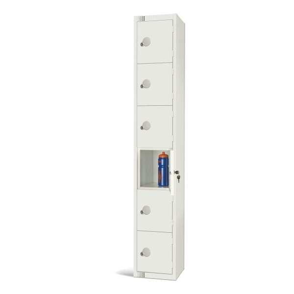 300mm Deep Locker 6 Door Padlock White - 1800x300x300mm (Direct)-0