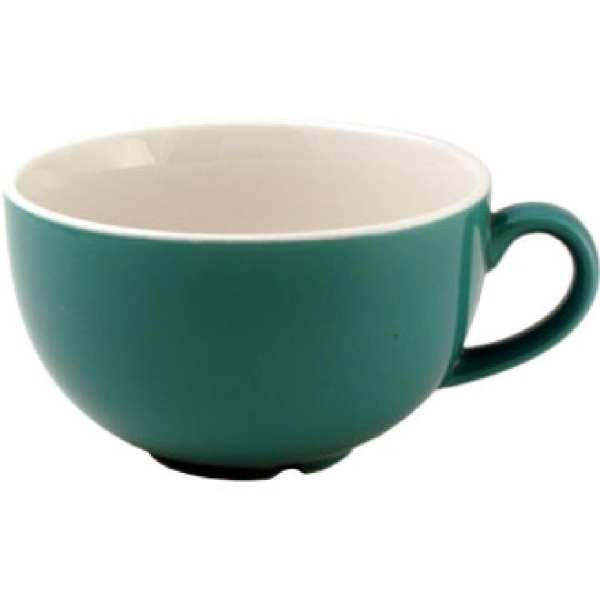 New Horizons Coloured Border Green Cappuccino Cup Solid 10oz (Box 24) (Direct)-0