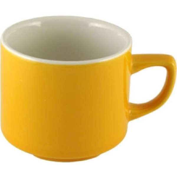 New Horizons Coloured Border Yellow Maple Cup Solid 7oz (Box 24) (Direct)-0
