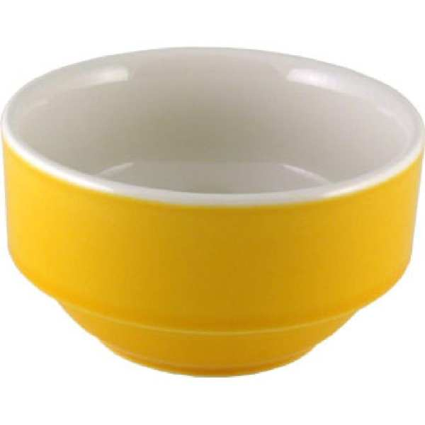 New Horizons Coloured Border Yellow Consomme Bowl Solid 10oz (Box 24) (Direct)-0