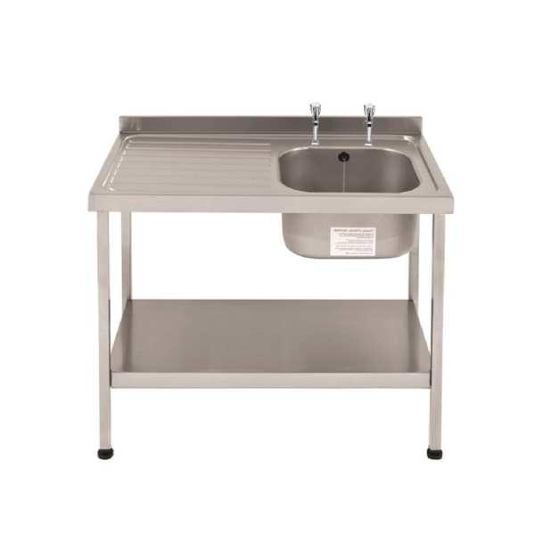 Sissons St/St Sink 1000x600mm R/H Bowl inc taps & L/H Drainer Mini Range(Direct)-0