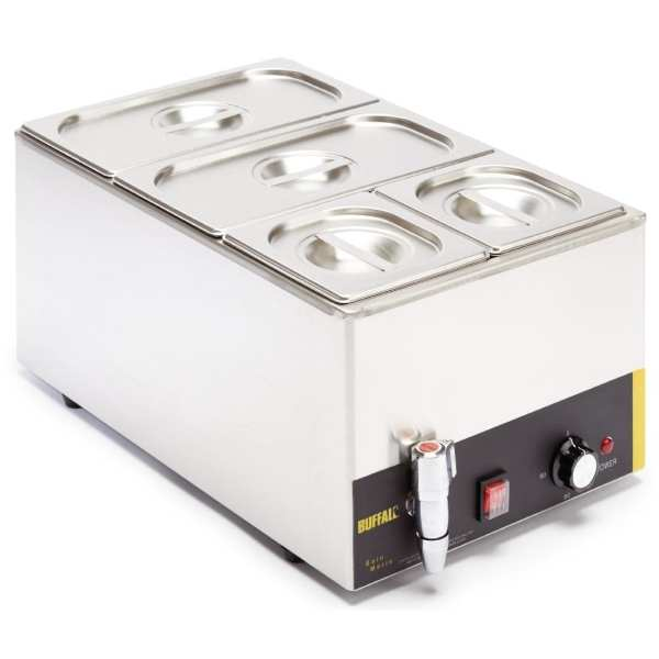 Buffalo Bain Marie with Tap with Pans 2x1/3 & 2x1/6 Pans 150mm Deep Inc Lids-0