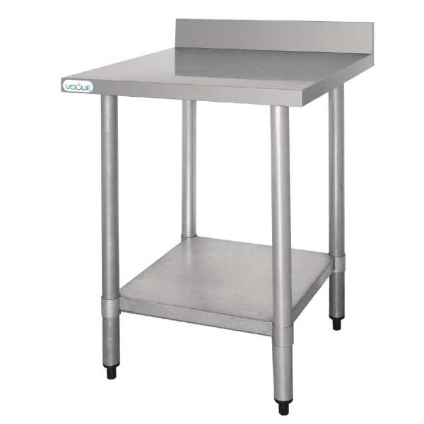 Vogue St/St Wall Table with 60mm Upstand - 900Wx600mmL-0