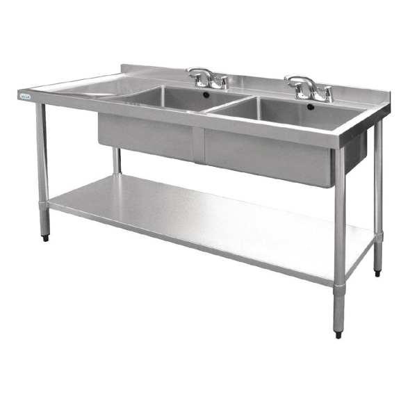 Vogue Double Bowl Sink L/H Drainer - 1800mm-0