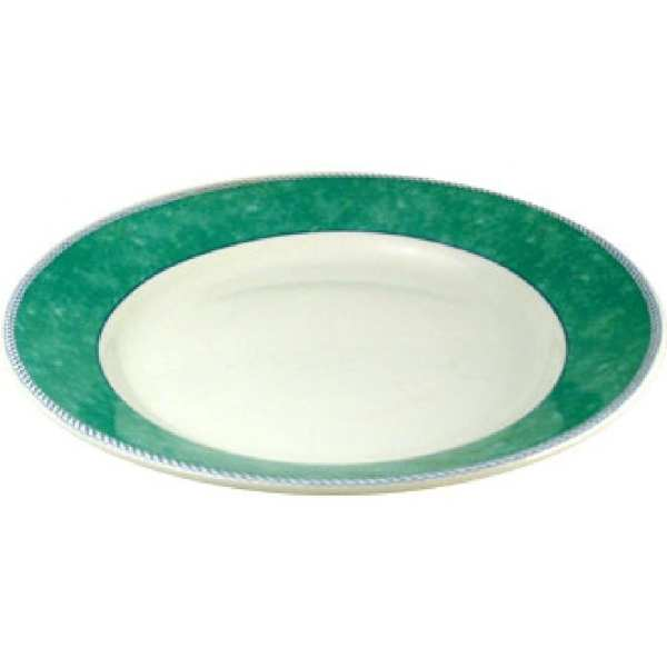 "New Horizons Coloured Border Green Mediterranean Dish 11"" (Box 12) (Direct)-0"