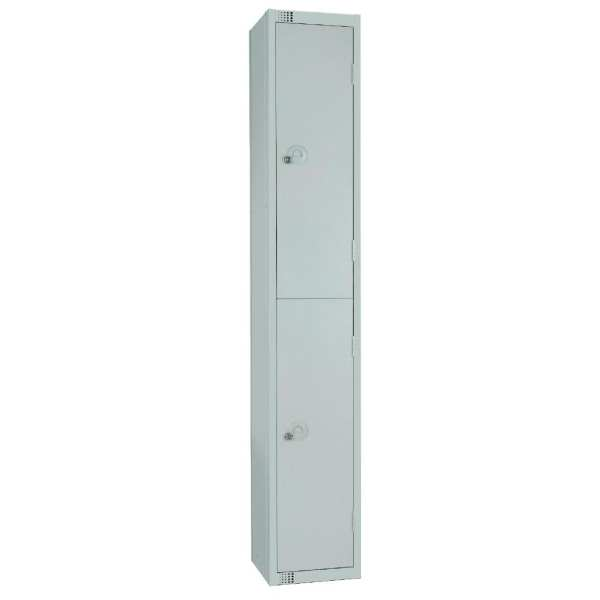 300mm Deep Locker 2 Door Padlock Mid Grey with Sloping Top (Direct)-0