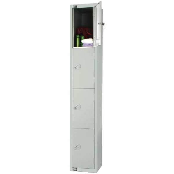 300mm Deep Locker 4 Door Camlock Mid Grey - 1800x300x300mm (Direct)-0