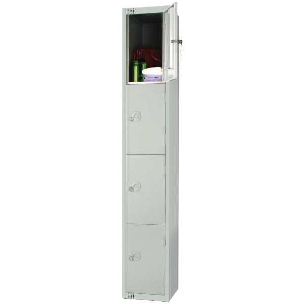 300mm Deep Locker 4 Door Padlock Mid Grey - 1800x300x300mm (Direct)-0