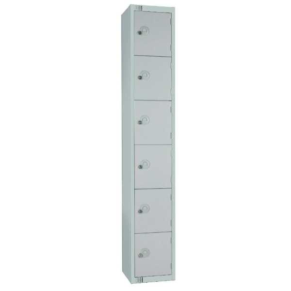 300mm Deep Locker 6 Door Padlock Mid Grey - 1800x300x300mm (Direct)-0
