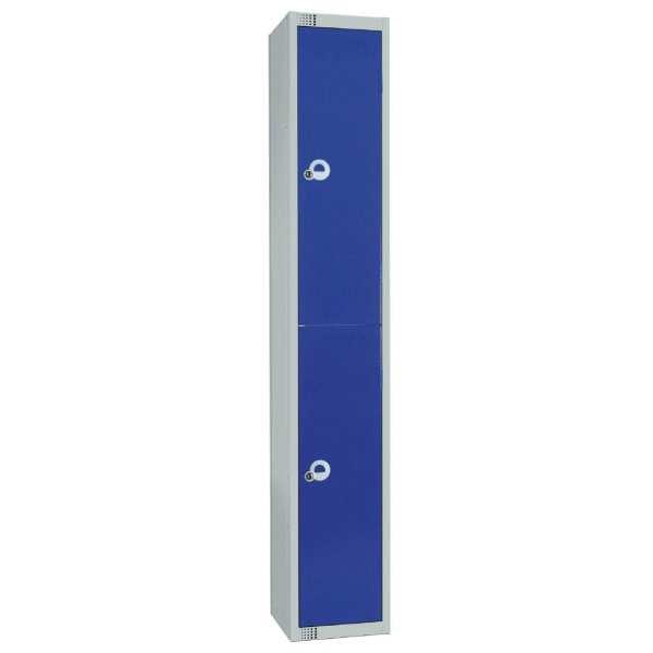 300mm Deep Locker 2 Door Padlock Blue with Sloping Top (Direct)-0
