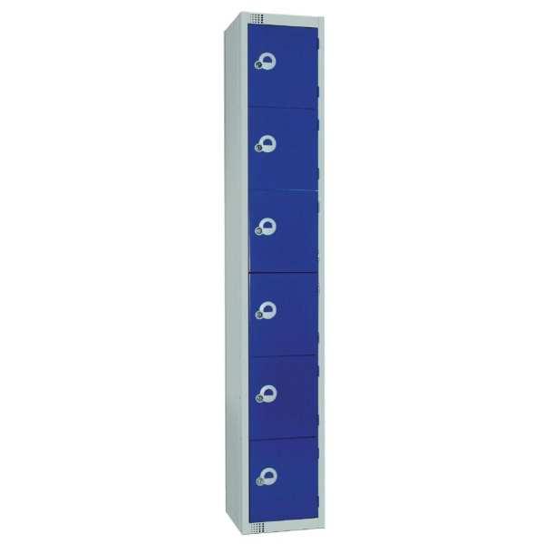300mm Deep Locker 6 Door Padlock Blue with Sloping Top (Direct)-0