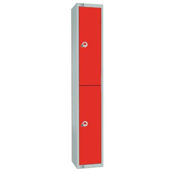 300mm Deep Locker 2 Door Camlock Red - 1800x300x300mm (Direct)-0