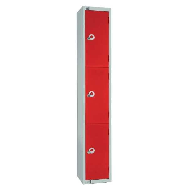 300mm Deep Locker 3 Door Camlock Red - 1800x300x300mm (Direct)-0