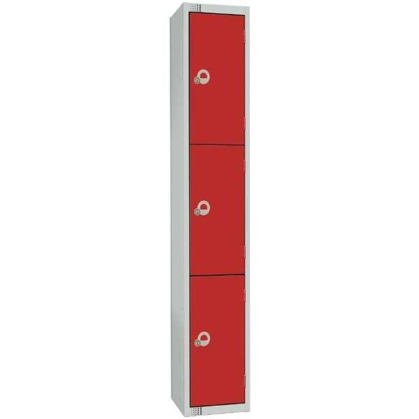300mm Deep Locker 4 Door Padlock Red with Sloping Top (Direct)-0