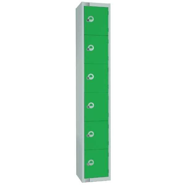 300mm Deep Locker 6 Door Padlock Green with Sloping Top (Direct)-0