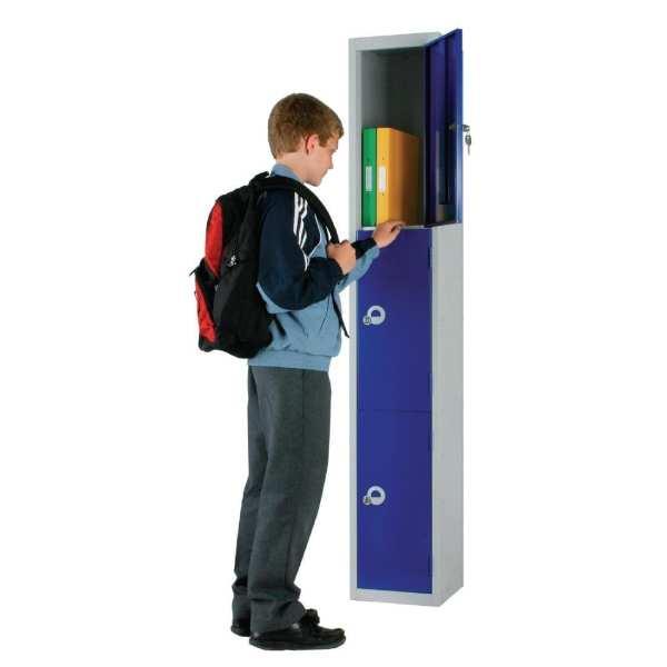 450mm Deep Locker 3 Door Camlock Blue - 1800x450x300mm (Direct)-0