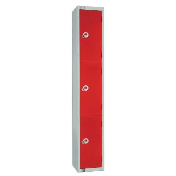 450mm Deep Locker 3 Door Padlock Red - 1800x450x300mm (Direct)-0