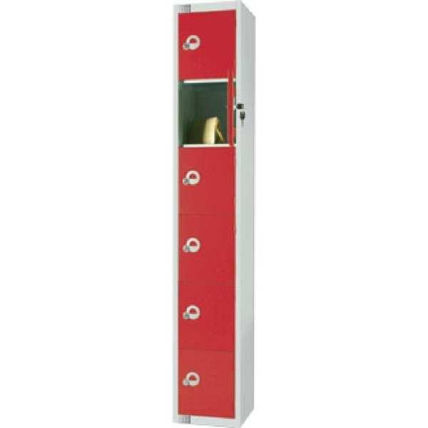 450mm Deep Locker 6 Door Padlock Red with Sloping Top (Direct)-0
